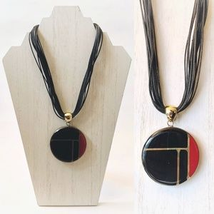 Chico's Black Red Gold Toned Retro Styled Necklace